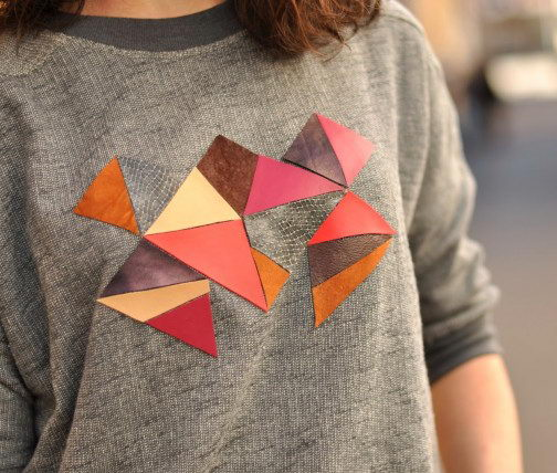 Sweet Geometric inspired Sweater with Leather. Get the tutorial