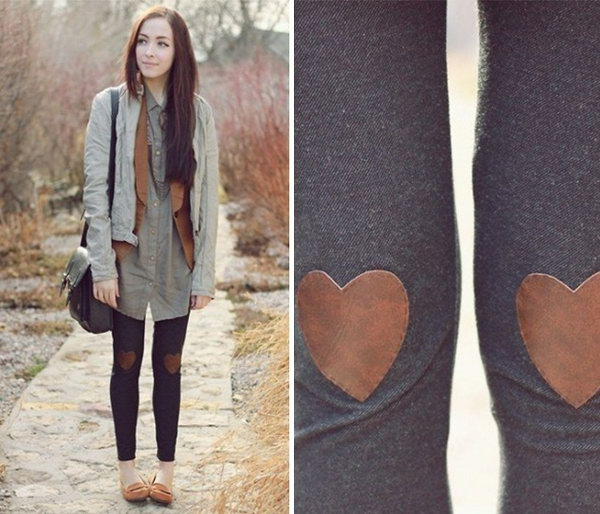 Heart shaped Leather Embellishment Knees. Get the tutorial