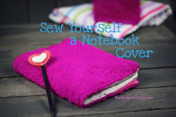 Sewing Notebook Cover. This hot pink sewing notebook cover is perfect for a girl. It makes a great given gift. Check out how to make it