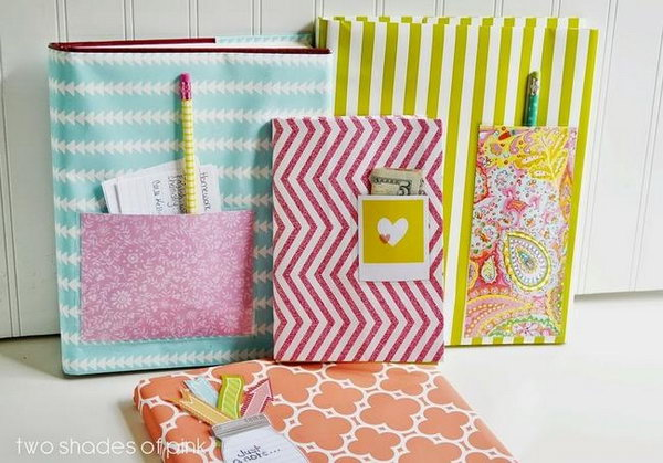 Wrapping Paper Book Cover. Wrapping paper is a great material to cover books with for its various patterns and colors. Looking at this adorable one, a laminated pocket is perfect for holding pencils and bookmarks. You can make one by yourself with the tutorial