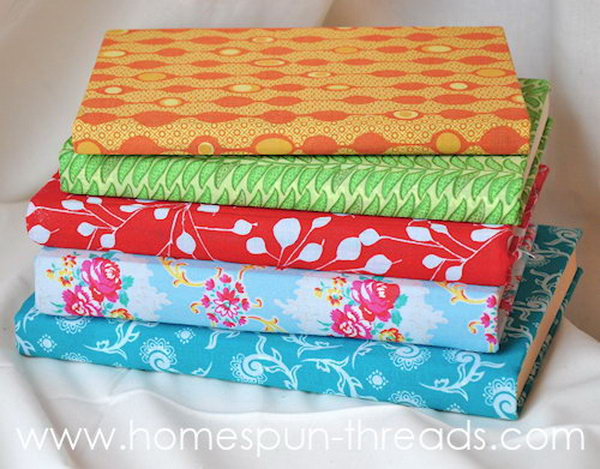 Fabric Covered Books. Give your vintage hardback books a fresh and new look with these colorful and patterned fabric covers. Learn more directions