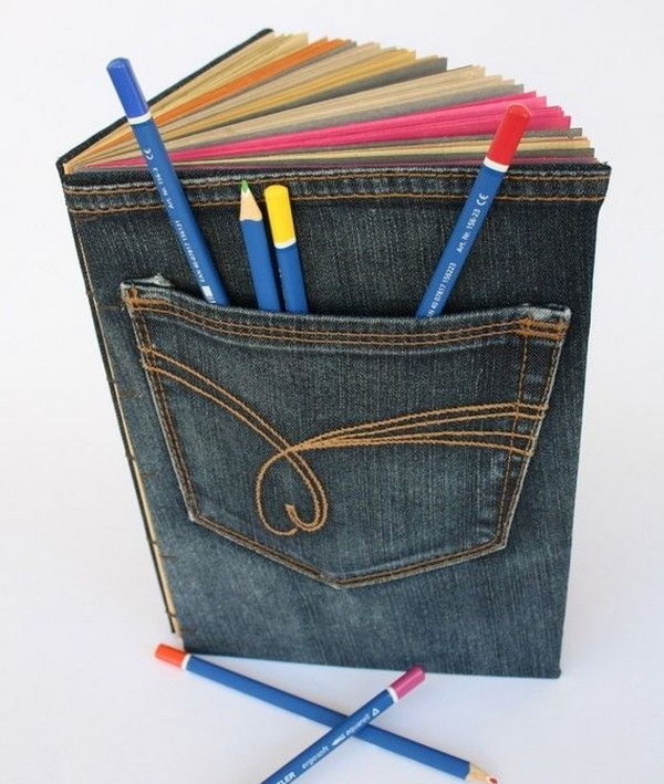 Jeans Upcycling Cover. A creative way to repurpose your old jeans. For this project, you need have some sewing skills.