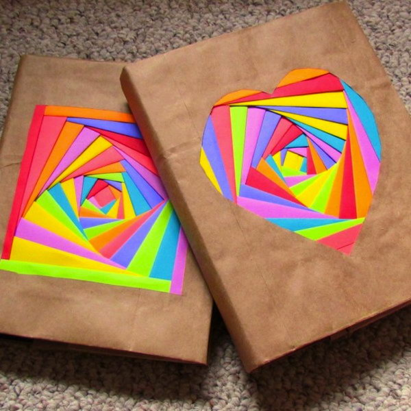 Iris Folded Cover. These rainbow folded embellishments give those brown paper covers a cheerful makeover. What you need is some bright colored papers. You also use a technique called Iris Folding for folding patterns. To make it simple, here is a free downloadable folding pattern for you. Check out