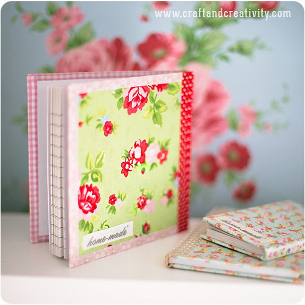DIY Fabric Covered Journals.  What you need is some piece of self adhesive fabric and fabric tape for this quick craft.  This fabric covered notebook looks very unique and personal. Get the tutorial