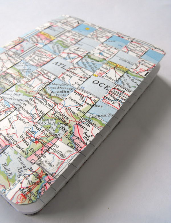 Vintage Maps and Woven Notebook Cover. You can use vintage maps and double sided tape to make this cool notebook cover.  Get the detailed instructions