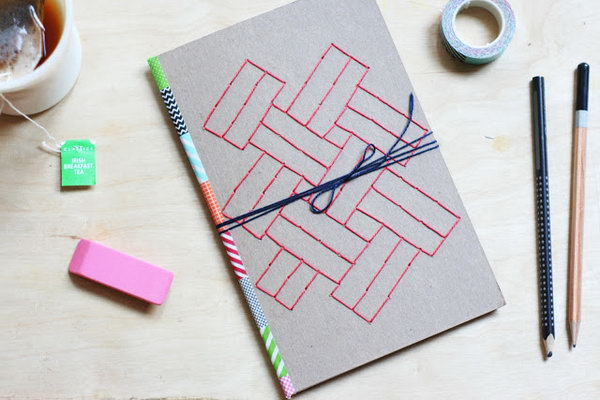 Embroidered Paper Journal. A bit of washi tape down the spine and some cool geometric patterns on the cover will add more personalization to your covers. Learn lots of tutorials