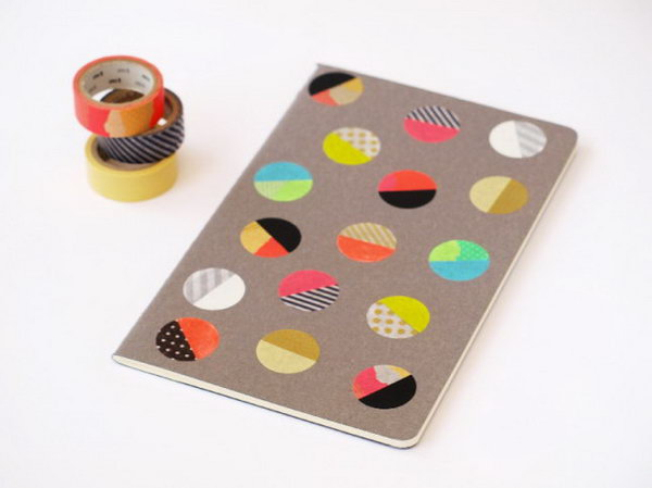 Colorful Dot Notebook. This one looks so cute! Do you want to make one for yourself or your little ones? All you need to make this cheery cover is a paper notebook, some washi tape and a paper punch. Learn more instructions