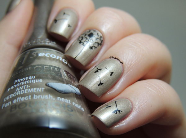 Cream Shimmer Black Danelion Nail Art Design.