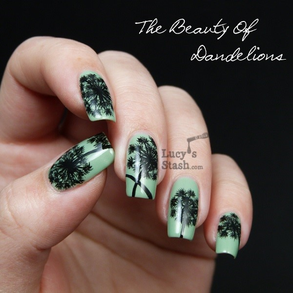 Turquoise Base Blowing Dandelion Flower Nail Art.