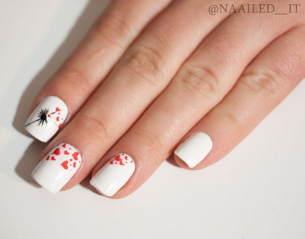 Dandelion Heart Nails.