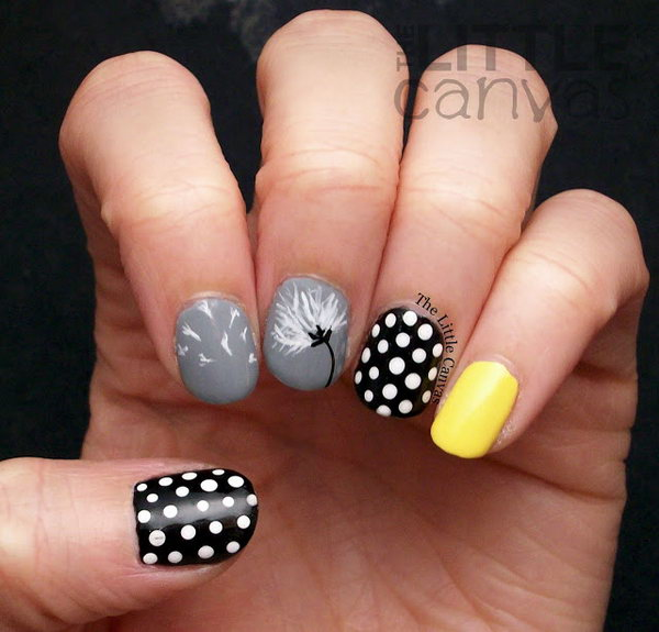 Dandelion and Polka Dots Nail Art. See the tutorial