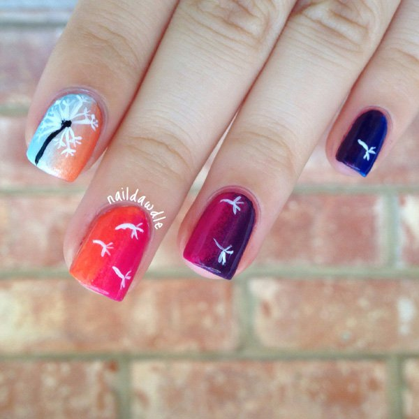 Pretty White Colored Dandelion over Colorful Gradients Nails.