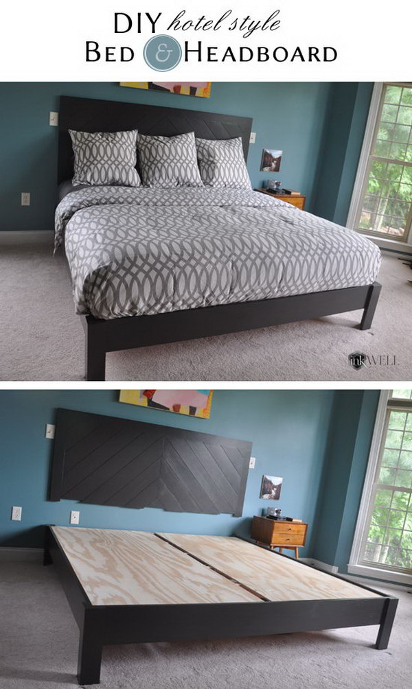DIY Hotel Style Headboard and Platform Bed Frame. Get the full tutorial