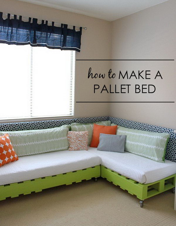 DIY Kid's Pallet Bed Frame. See the tutorial