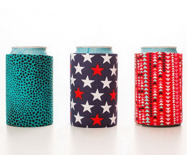 DIY Fabric Koozies. See the tutorial