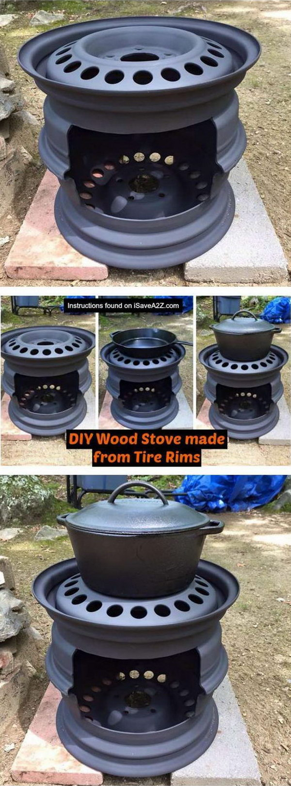 DIY Wood Stove Made From Tire Rims.