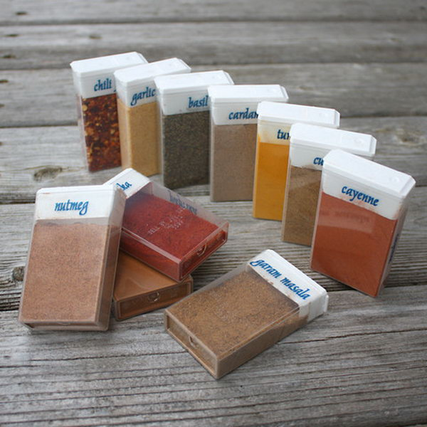 Repurposed TicTac Boxes for Travel Spices. Get more details