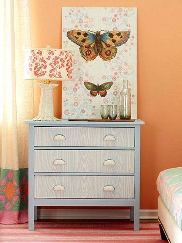 Faux Wood Paneling Dresser Makeover. See how