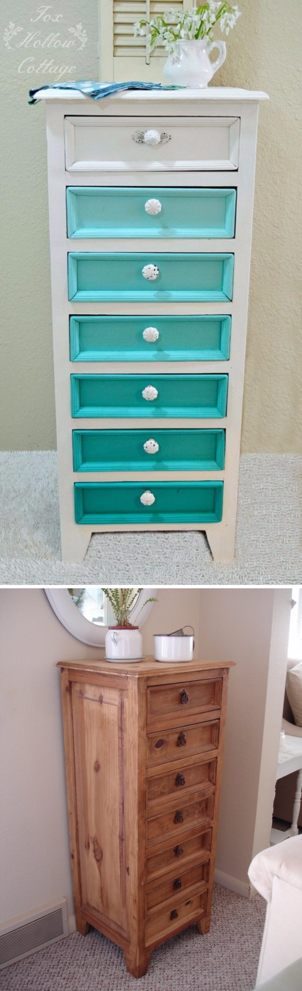 Aqua Ombre Painted Dresser Makeover. Get the instructions