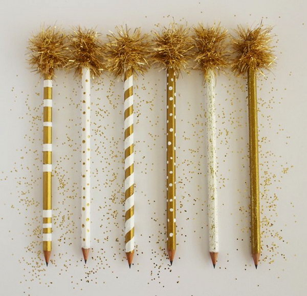 Gold Trim Pencils. Gold is so gorgeous. These ridiculously gold pencils are not only perfect for back to school but also for being used as swizzle sticks at festive party. See how to make them