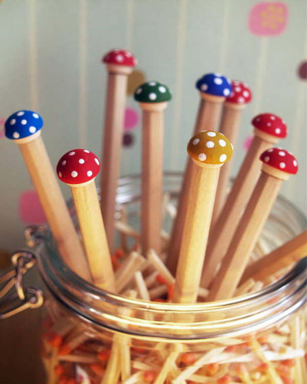 Toadstool Pencils. This toadstool pencil is an easy cheap and fun craftto make. A set of these would make for such a nice gift to yourself or someone else who loves to write, doodle, or draw. See the tutorial