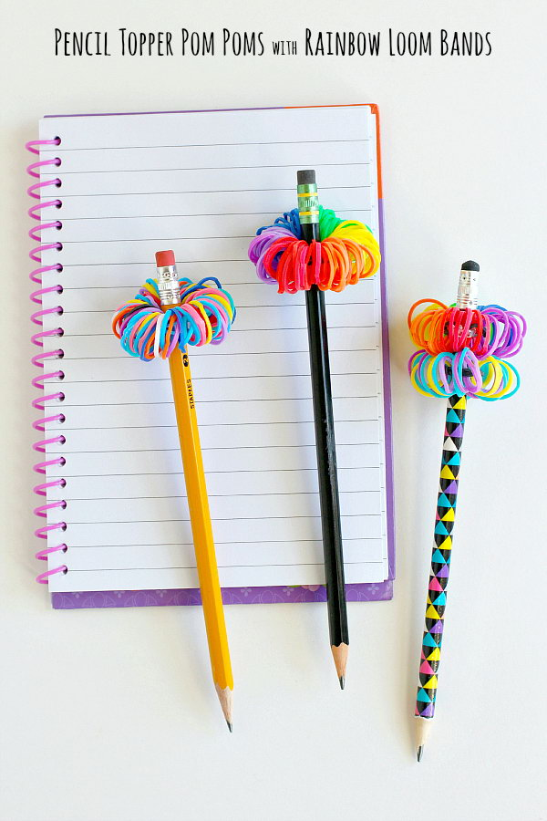 Rainbow Loom Band Pom Pom Pencil Toppers. These cute little pom poms are made from Rainbow Loom bands. They are perfect  for your pencil decoration! Learn how to make it