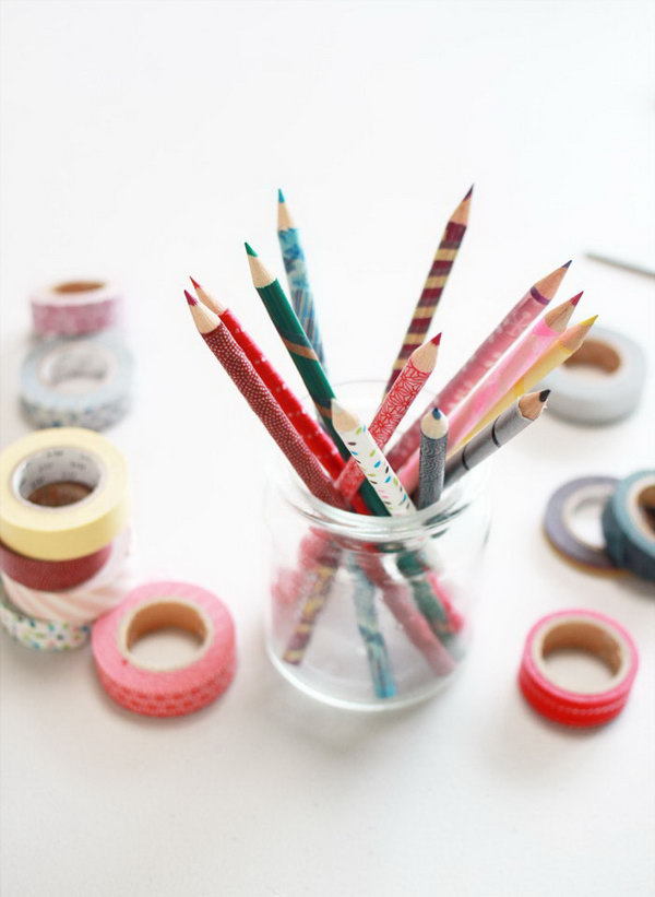 Washi Tape Pencils. Washi tape is pretty versatile in the DIY world for its gorgeous colors and fun patterns. Get the tutorial about how to make these washi tape pencils