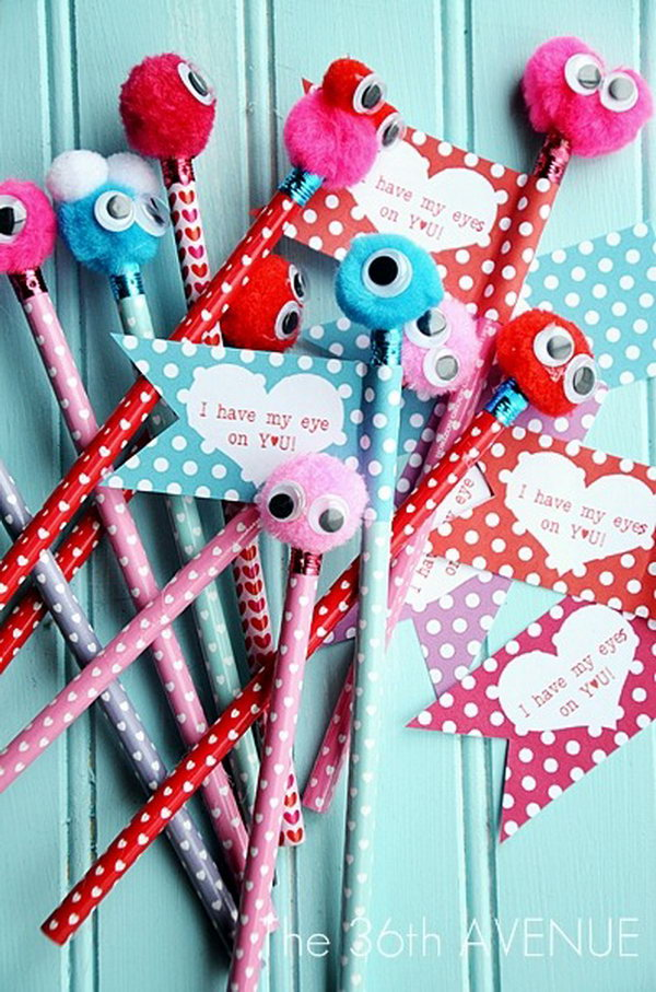 Free Printable Valentine Monster Pencils. These adorable Valentine monster pencils are so quick and easy to make. Pom poms, faux eyes and some pencils are all you need.  Get the detailed instructions