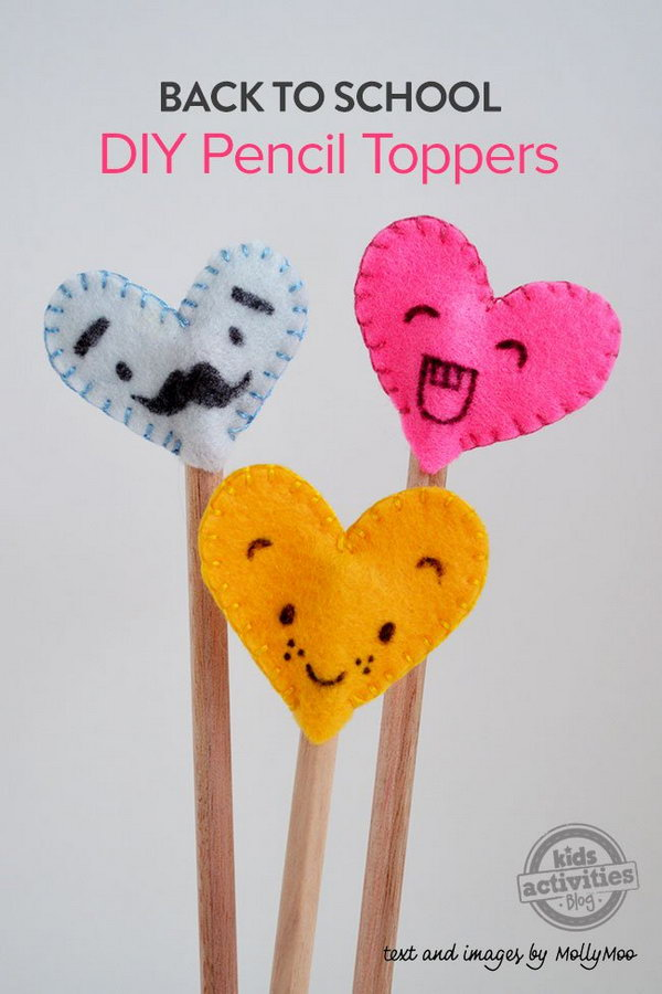 DIY Felt Heart Pencil Toppers. This one is a super fun and easy craft to make. All you need is some scraps of felt, some embroidery thread and a needle and a thin black permanent marker. Get the detailed directions
