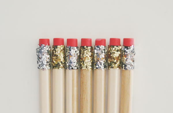 DIY Glitter Pencils. These glittery beauties look pretty fabulous on our desks. See more directions