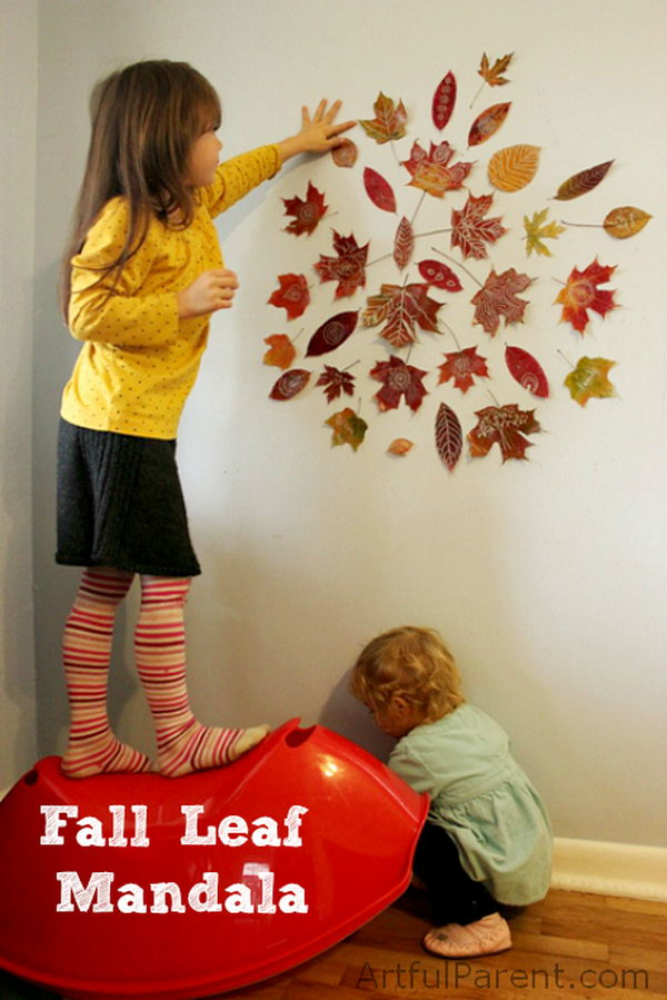Fall Leaf Mandala Wall Art. See the tutorial
