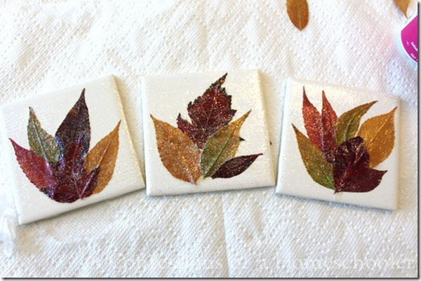 DIY Leaf Coaster Craft. See the tutorial