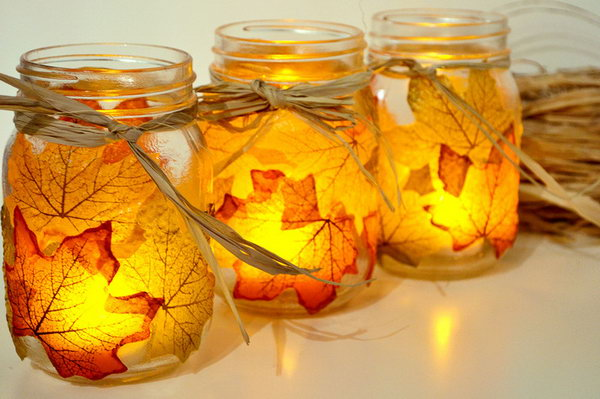 Autumn Leaf Candle Holder. See how to make it
