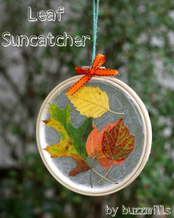 Embroidery Hoop Leaf Suncatchers. Learn how to make it