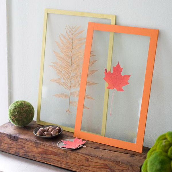 Fall Decor with Pressed Leaves.