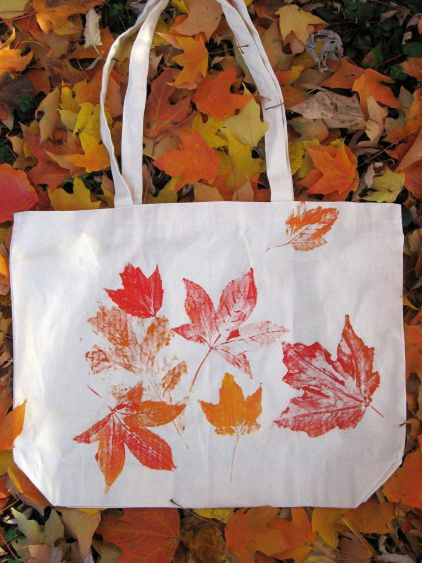 Leaf Prints Tote Bag. See how to make it