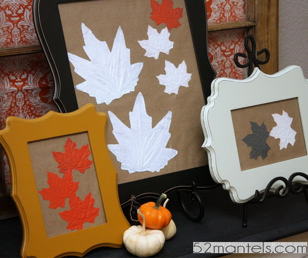 Framed Fall Leaf Wall Art. Check out the tutorial