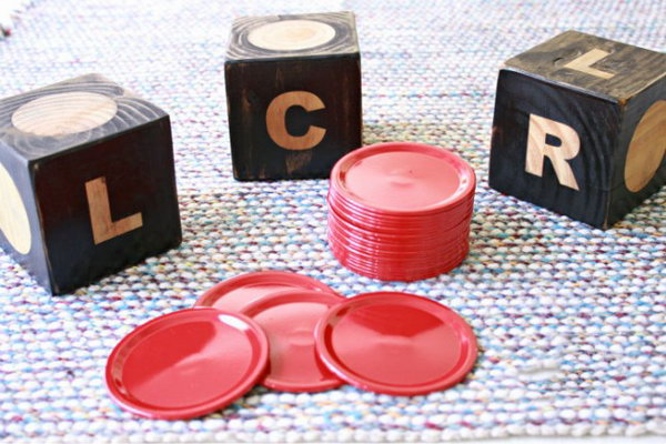 DIY Giant Dice Game. This is an easy to learn game that is perfect to have on hand during barbecues during the summer time. See more instructions