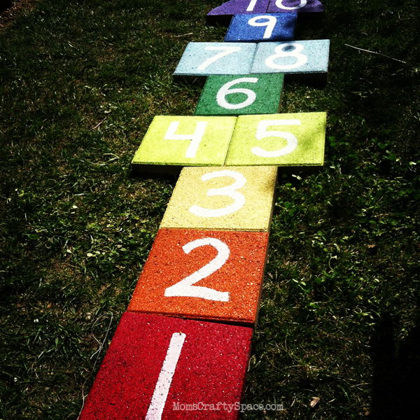 DIY Rainbow Paver Hopscotch. Get the tutorial