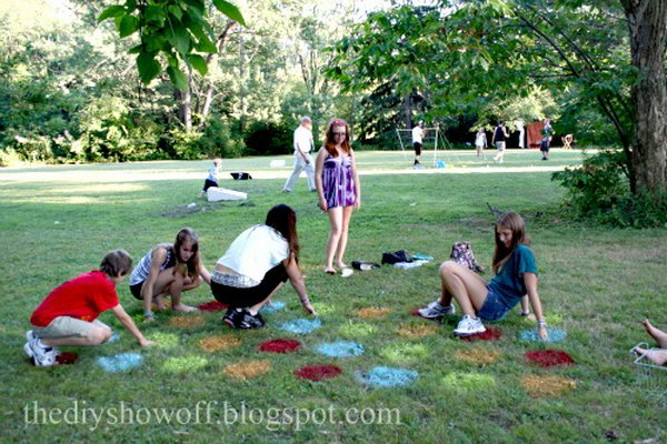 Lawn Twister Game. See the instructions