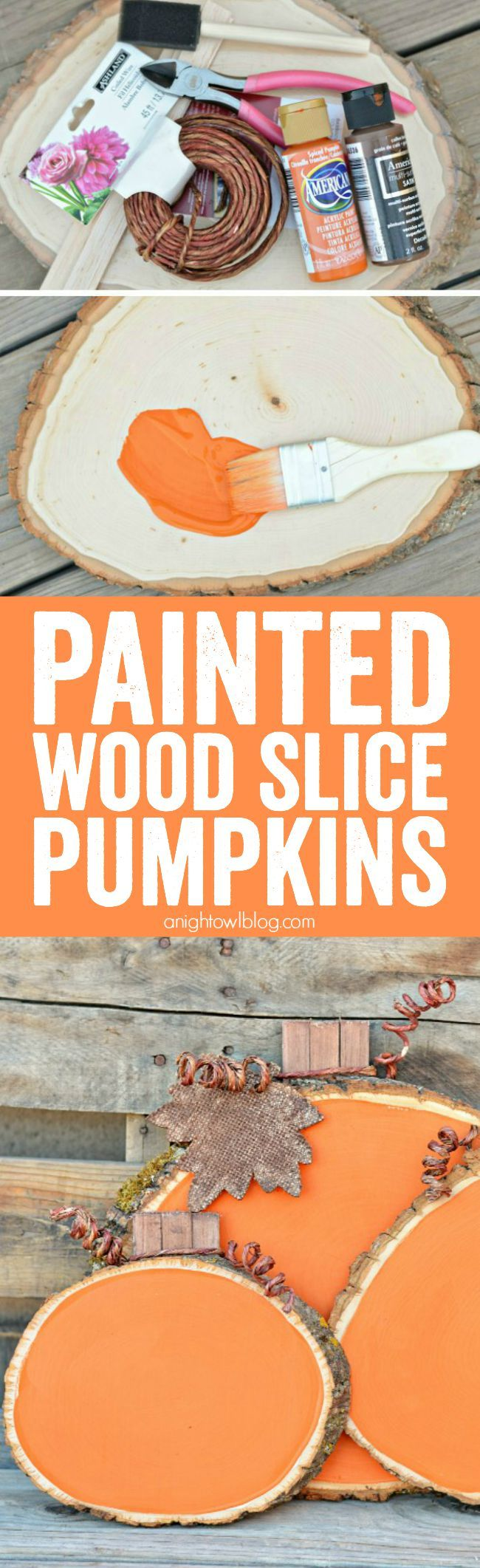 DIY Painted Wood Slice Pumpkins. Make adorable craft wood slice pumpkins from wood and paint!  Tutorial via