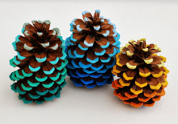 Add a Pop of Color to Pinecones with Acrylic Paint.
