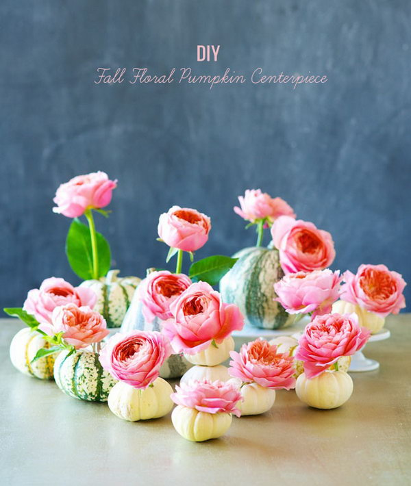 DIY Cute Fall Floral Pumpkin Centerpiece.