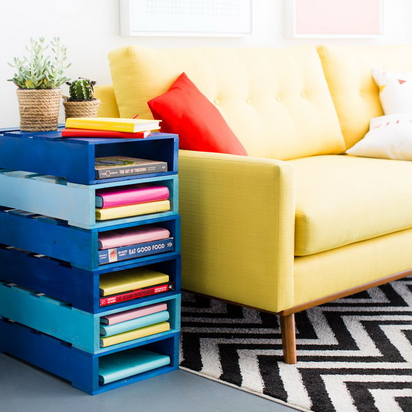 Bookshelf Side Table. Get the tutorial