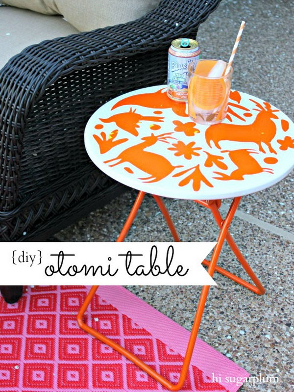 DIY Stencil Patio Table. Get the tutorial