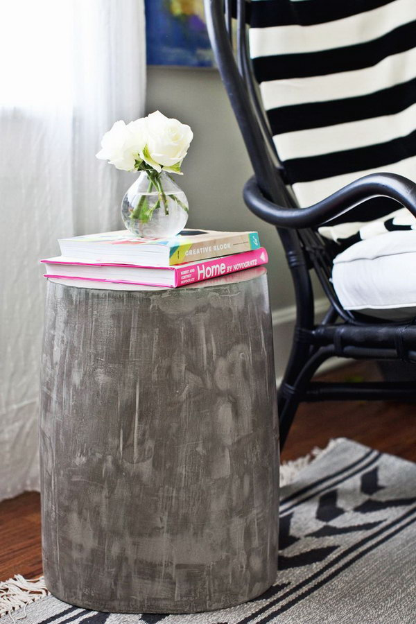 Lightweight Cement Side Table. See the tutorial