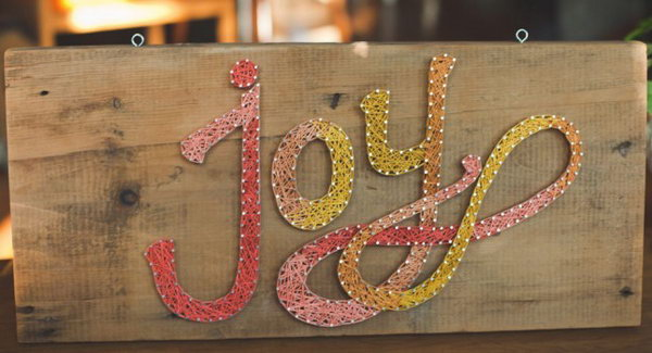 "DIY ""Joy"" String Art. Get the tutorial"