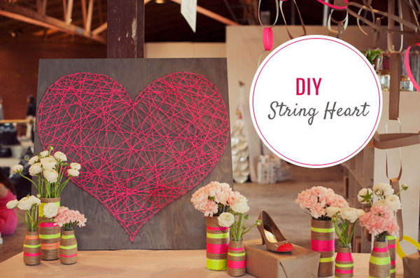 DIY Heart String Art. See the steps