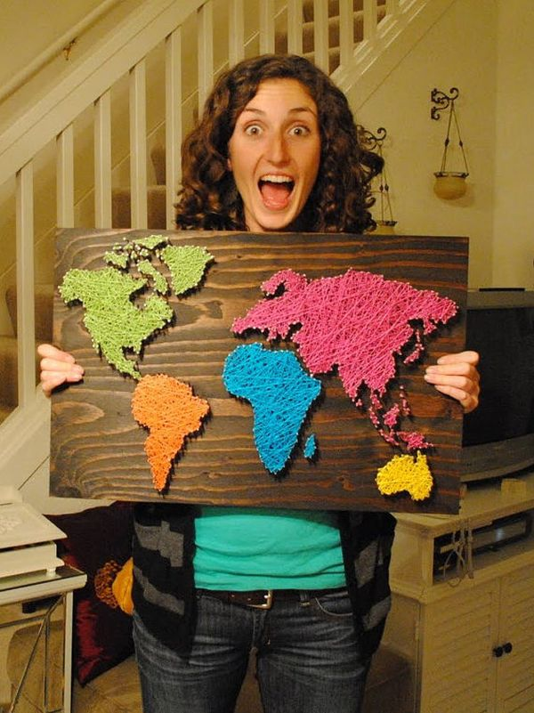 DIY Nail Wall Art World Map.
