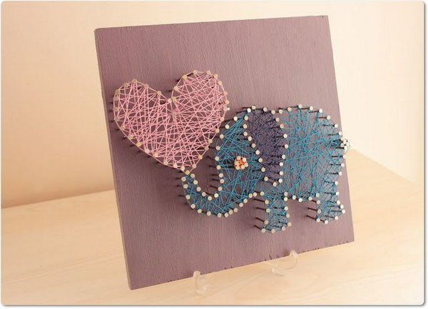 DIY String Art pretty Elephant.